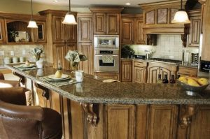 kitchen with distressed cabinets