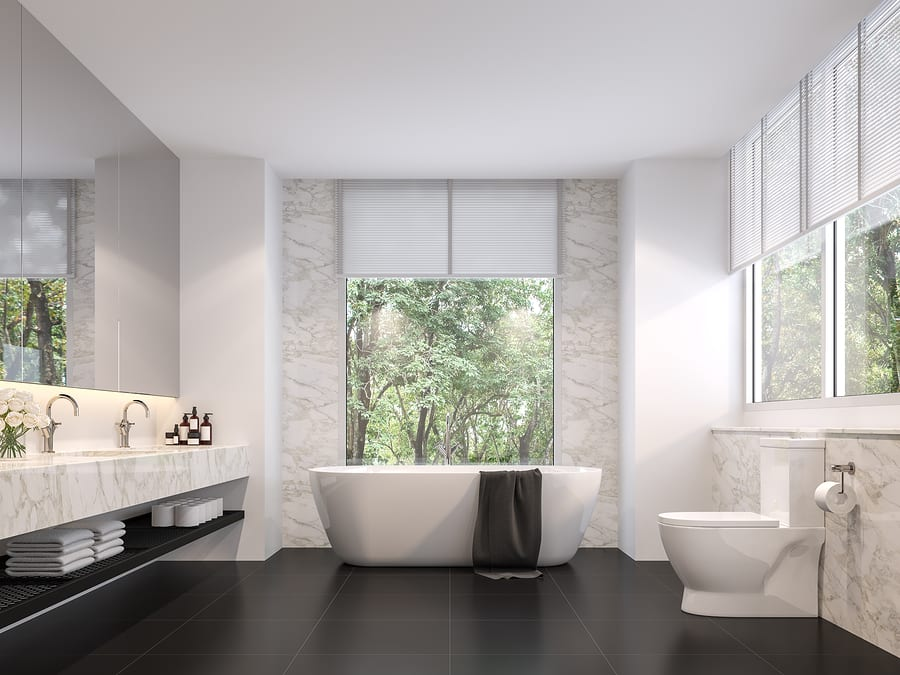 Luxurious Bathroom With Natural Views 3d Render,the Room Has Bla