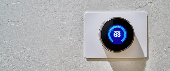 nest thermostat set to 63 degrees fahrenheit