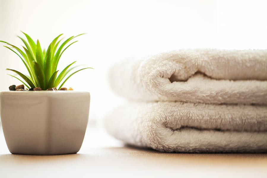 Buildings And Architecture Spa. White Cotton Towels Use In Spa B