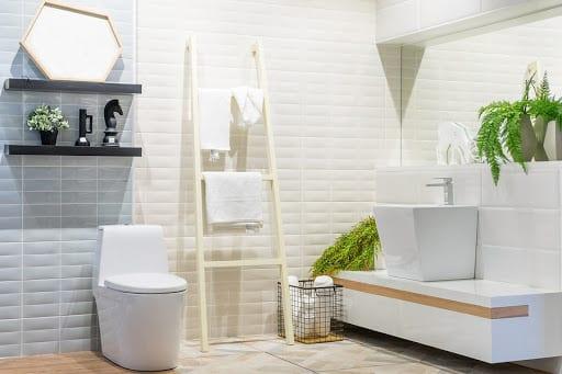 white modern bathroom with plants