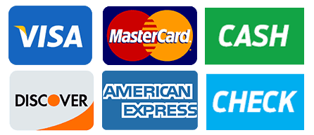 we accept visa mastercard discover cash and check