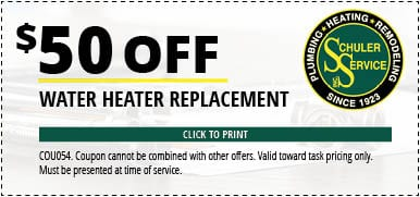 $50 Off Water Heater Replacement. Click to Print. Coupon cannot be combined with other offers. Valid toward task pricing only. Must be presented at time of service.