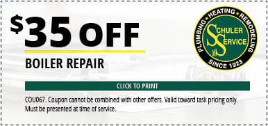 $35 Off Boiler Repair. Click to Print. Coupon cannot be combined with other offers. Valid toward task pricing only. Must be presented at time of service.