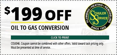 $199 Off Oil to Gas Conversion. Click to Print. Coupon cannot be combined with other offers. Valid toward task pricing only. Must be presented at time of service.