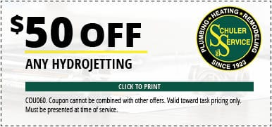 $50 Off Any Hydrojetting. Click to Print. Coupon cannot be combined with other offers. Valid toward task pricing only. Must be presented at time of service.