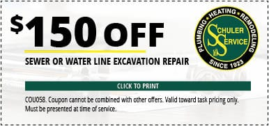 $150 Off Sewer or Water Line Excavation Repair. Click to Print. Coupon cannot be combined with other offers. Valid toward task pricing only. Must be presented at time of service.