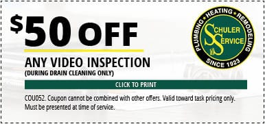 $50 Off Any Video Inspection (during Drain Cleaning only). Click to Print. Coupon cannot be combined with other offers. Valid toward task pricing only. Must be presented at time of service.