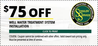$75 Off Well Water System Installation. Click to Print. Coupon cannot be combined with other offers. Valid toward task pricing only. Must be presented at time of service.