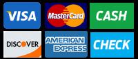 We accept Visa, MasterCard, Discover, American Express, Cash or Check